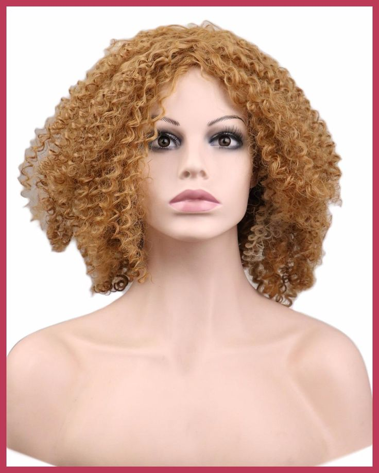 QQXCAIW Ladies Kinky Curly Afro Wig Party Blonde Brown Long Synthetic Hair Wigs for Black Women