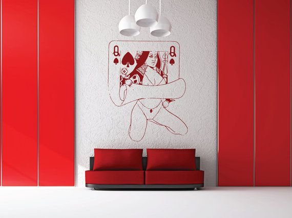 Hey, I found this really awesome Etsy listing at https://www.etsy.com/listing/248949793/queen-spades-card-wall-decal-lounge