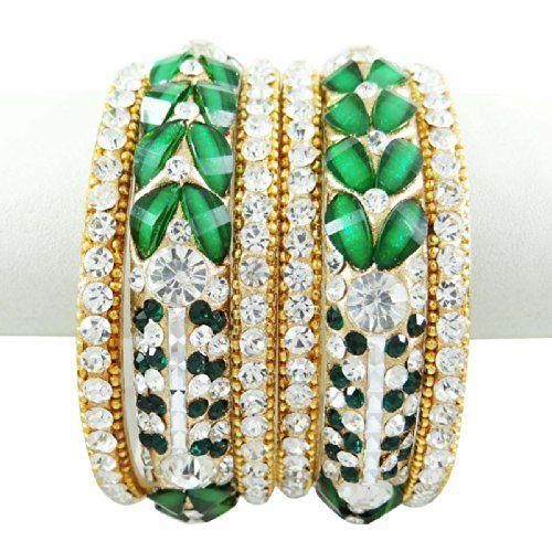 Grün -Silber-Ton CZ Kundan Bangles / Kada -Armband-Frauen Ethnische Schmuck 2. September * 4 | Your #1 Source for Jewelry and Accessories