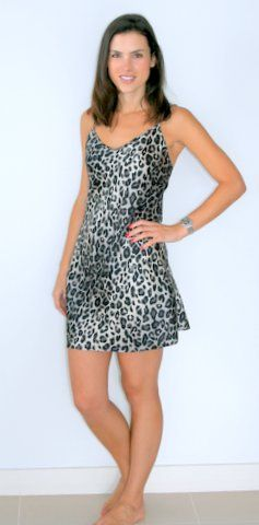 #Silk Chemise extra short nightie with animal print  This beautiful mid thigh length #nightie/slip that can also be worn #sleepwear or as a slip under short dresses.