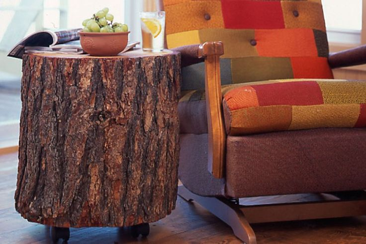 Make a log stump table crafts diy how to pinterest for Stump furniture making