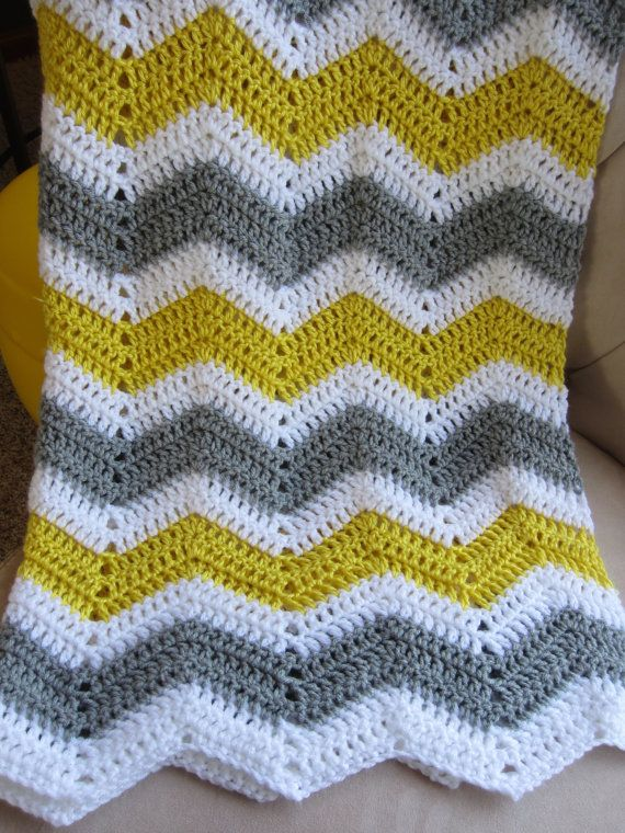 ZIGZAG BABY BLANKET in Yellow Gray and White. Made to Order.