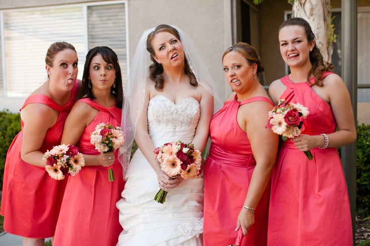 Funny, Unique, Silly Bridesmaid photo! Guava bridesmaid dresses ...