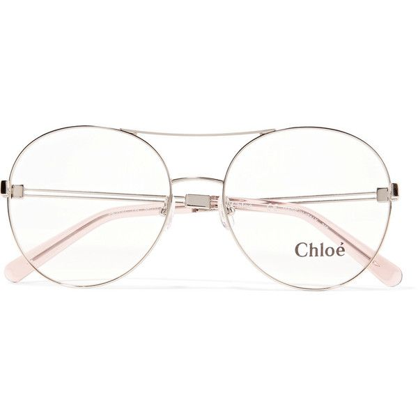 ChloéJacky Round-frame Metal Optical Glasses (€240) ❤ liked on Polyvore featuring accessories, eyewear, eyeglasses, gold, see through glasses, chloe eyeglasses, metal eyeglasses, chloe glasses and pink eyeglasses