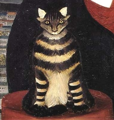 detail of cat in Portrait of Pierre Loti | Henri Rousseau
