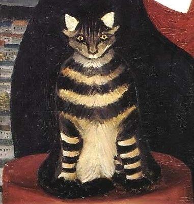 detail of cat in Portrait of Pierre Loti | Henri Rousseau
