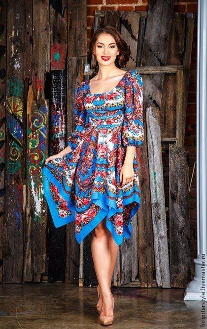 """Платья ручной работы. Ярмарка Мастеров - ручная работа """"Русский Стиль"""" - платье из платка. Handmade."""