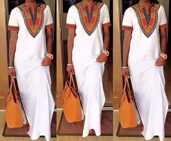 On Sale Zena Polish Cotton maxi Dress/ Dashiki Maxi