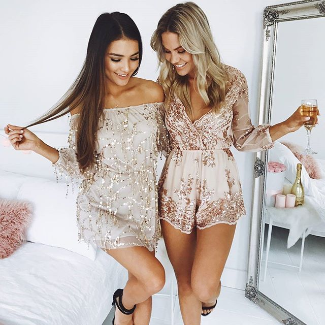 Sparkle through the night in our 'Call It A Night dress in gold' + 'Big Baller playsuit in rose gold sequin'✨Shop now via the link in our bio#showpo