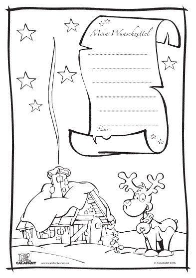 Kostenloser Wunschzettel zum Ausmalen. Ideal zu Weihnachten!
