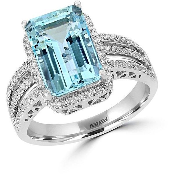 Effy Aquarius , Diamond and 14K White Gold Ring ($1,800) ❤ liked on Polyvore featuring jewelry, rings, aquamarine, white gold diamond rings, fine jewelry diamond rings, 14k white gold ring, 14 karat diamond ring and fine jewelry
