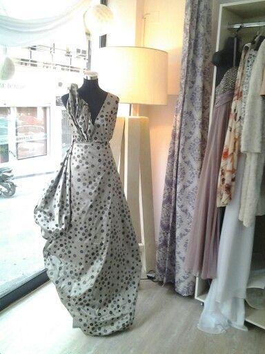 Silk shantung evening dress.