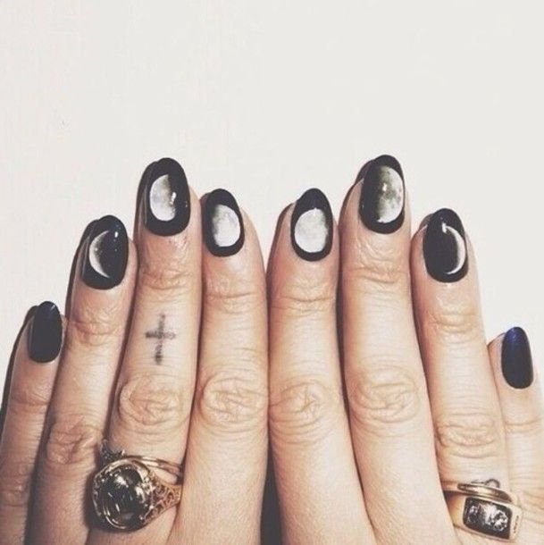 nail polish nails nail art moons pastel goth pastel grunge jewels nail accessories moon black white grunge tumblr outfit tumblr tumblr clothes fashion soft grunge brandy melville goth hipster pale grunge