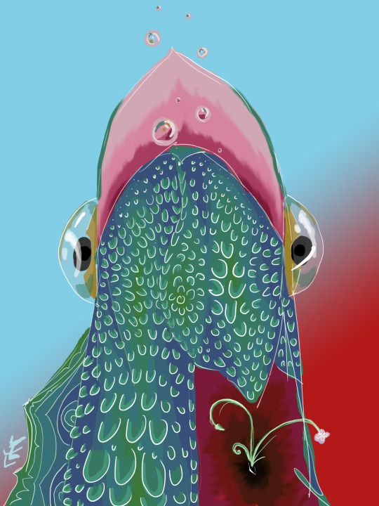 Illustration by Timi Turzó. The singing fish. This picture represent my relationship with my parents. It's complex ….