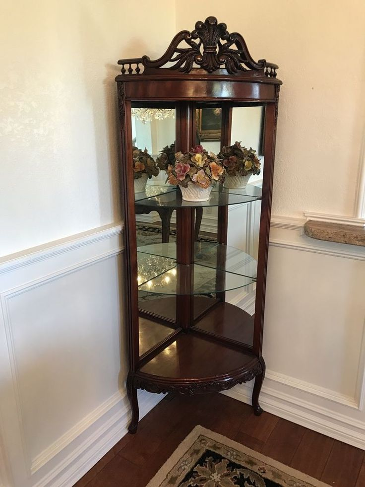 Details About Antique Corner Curio In 2019 Corner Curio
