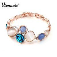 2_______Viennois 18К розовое золото браслет-цепочка для женщин с кристаллами и  голубым опалом геометрической формы