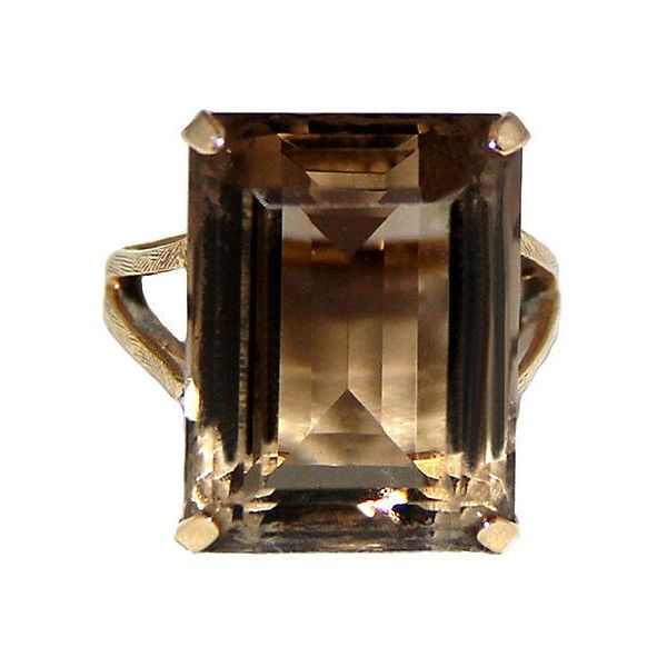 Pre-Owned 14K Gold Smokey Topaz Cocktail Ring ($695) ❤ liked on Polyvore featuring jewelry, rings, brown topaz ring, topaz ring, gold jewelry, gold rings and yellow topaz ring