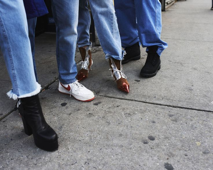 Denim x Alexander Wang cotton denim jeans and Christian Dada shoes. Gucci's cotton denim jeans with Nike sneakers. Levi's cotton denim jeans with Christian Louboutin shoes. Jnco's cotton denim jeans with Timberland boots.