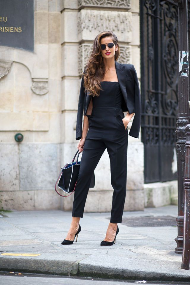 Izabel Goulart is always so elegant! Love the overalls in black-: Street Style from Paris Haute Couture