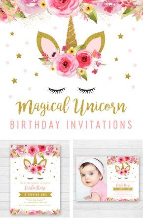 Unicorn Birthday Party Invitation Templates Edit Yourself Right In