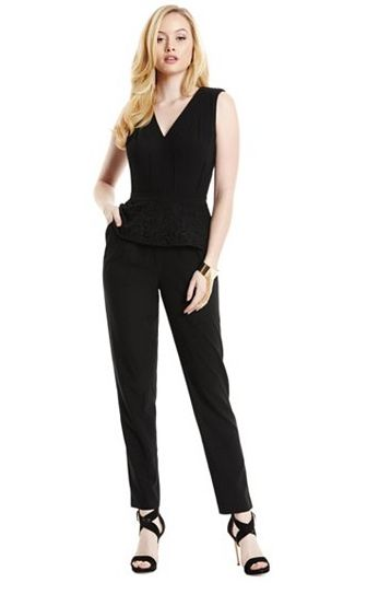 50 Jumpsuits Every Woman Can Wear Based on Her Body Type- Jumpsuits for Women-BUSTY The faux wrap is ultra-flattering, and short sleeves help to balance out fuller busts. Miss Selfridge Wrap Jumpsuit, $95; lordandtaylor.com. Keep it simple and classy with our selection of jumpsuits at redbookmag.com.