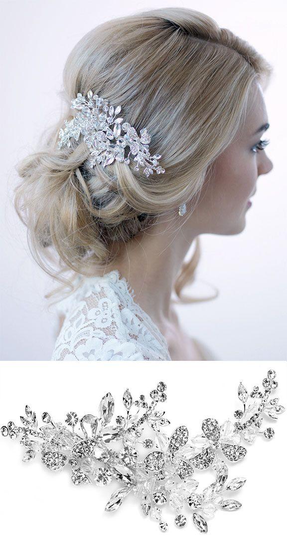 elegant floral bridal hair clip with swarovski crystals that glimmer effortlessly