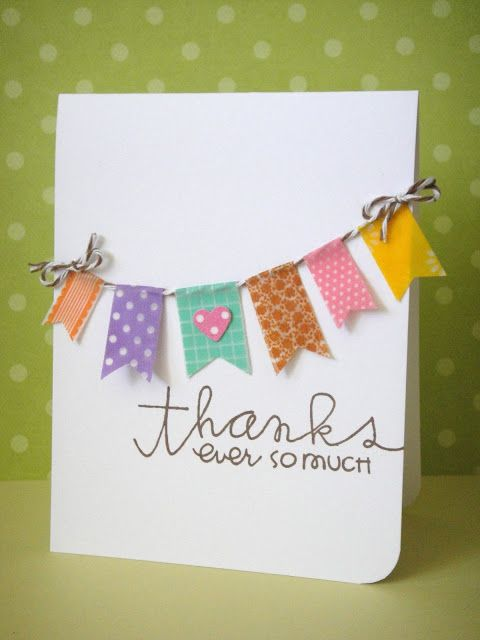 Thank you with Washi tape banner, three umbrellas: Catered Crop--Washi's Up, Doc?