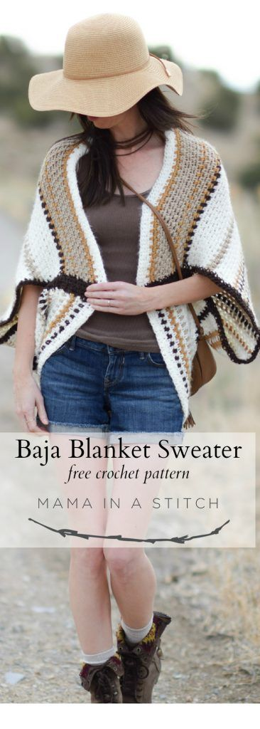 This is a free crochet pattern for an easy crocheted blanket sweater! It's so simple to make and has a full crochet stitch tutorial which shows you how to make it. #crafts #diy