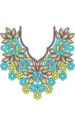 Southwestern Girls Neck Embroidery Design