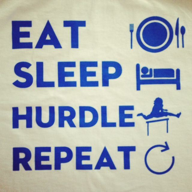 Eat, sleep, hurdle.  Track and field, running www.spikease.com Track Spike Cover
