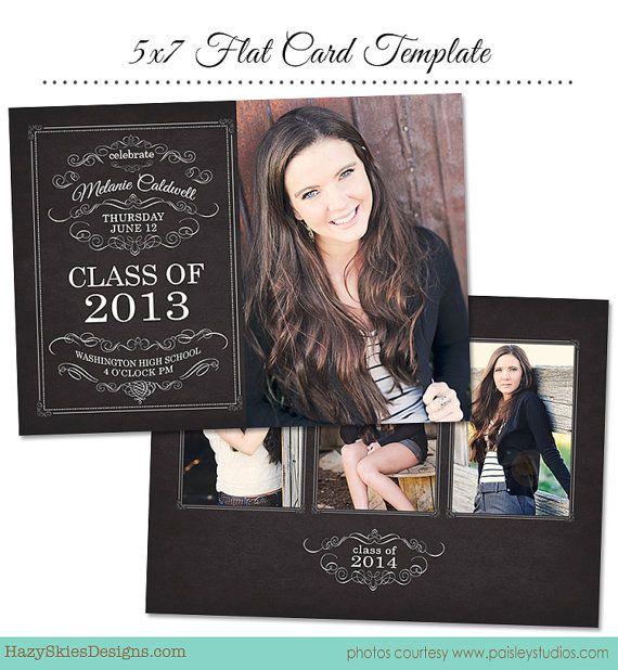 INSTANT DOWNLOAD Senior Graduation Announcement Template for Photographers - GD110 on Etsy, $7.50