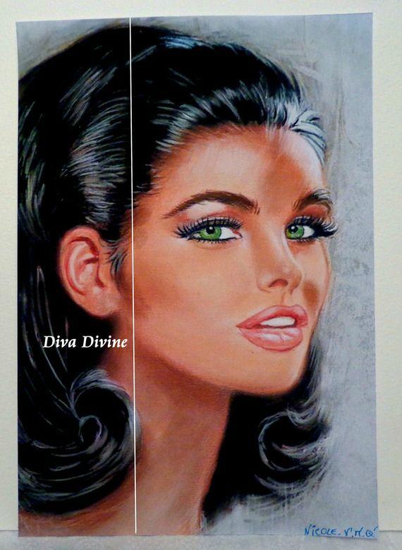 Peinture Pastel Sec pour Tableau Rétro Vintage Année 60, ° NICOLE ° PEINT LA MAIN - PASTEL SEC