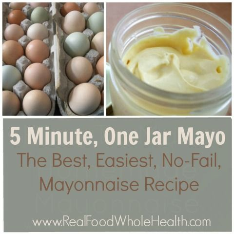 Want the easiest homemade mayonnaise recipe ever? In just 5 minutes and in ONE jar- you can make this mayo without fail! From www.realfoodwholehealth.com!