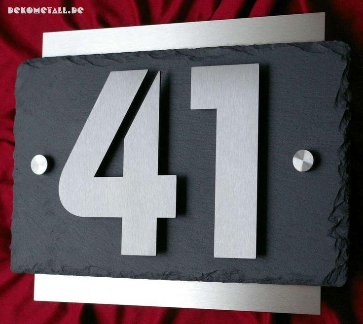 Exklusive Hausnummer aus Edelstahl und Schiefer 3D Hausnummernschild Türschild