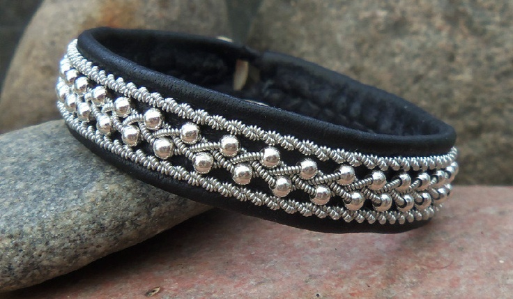 Black Reindeer Leather Beaded Sami Lapland Bracelet, Pewter Wire Braids Silver Beads.