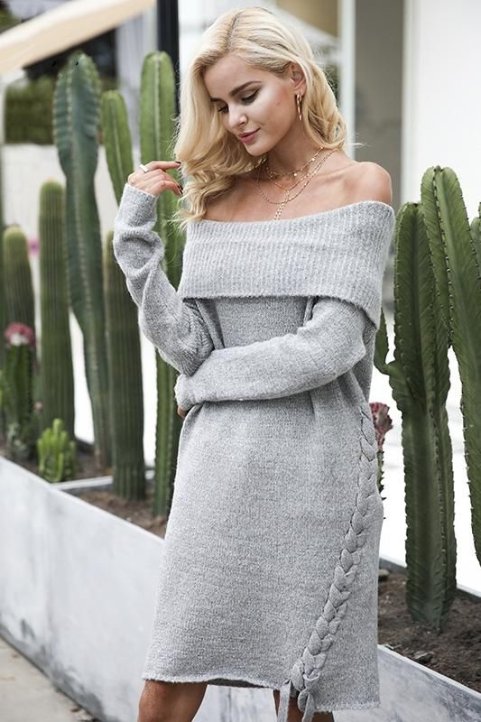 8DESS Off Shoulder Lace Up Knitting Long Sleeve Sweater Dress