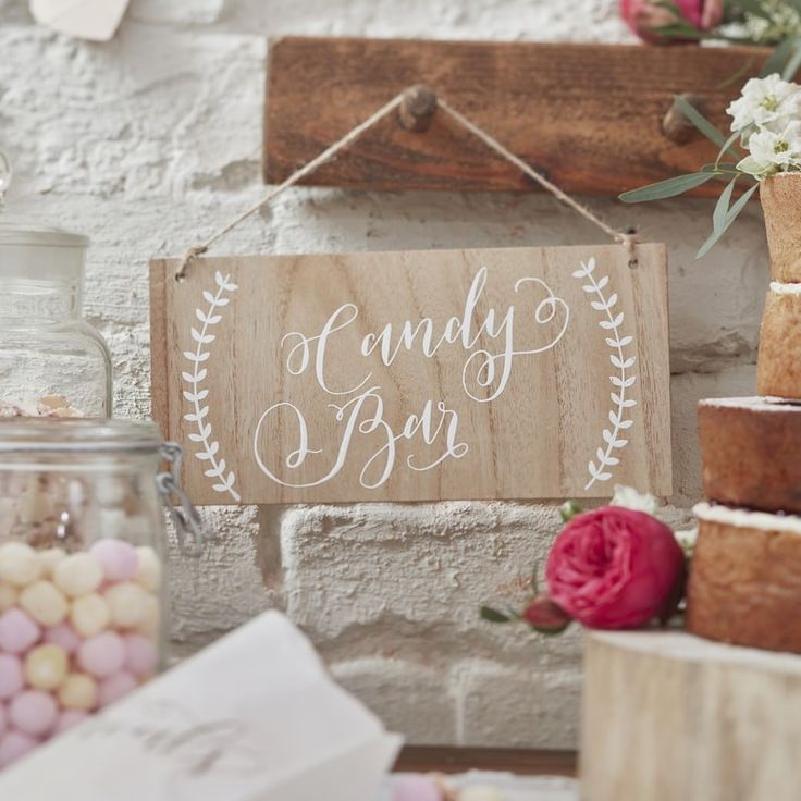 Our boho wooden Candy Bar sign is the perfect touch for any event! Shop now • www.whitelacepartyware.com.au