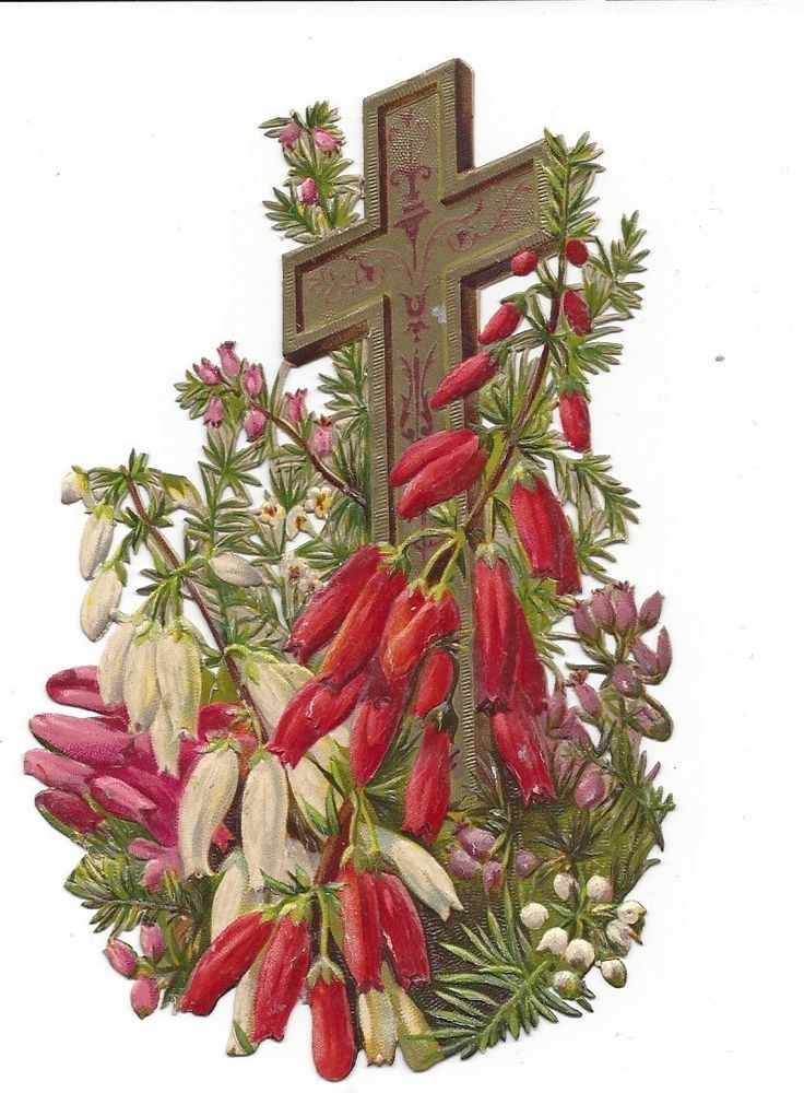 Victorian Die Cut Scrap Easter Cross
