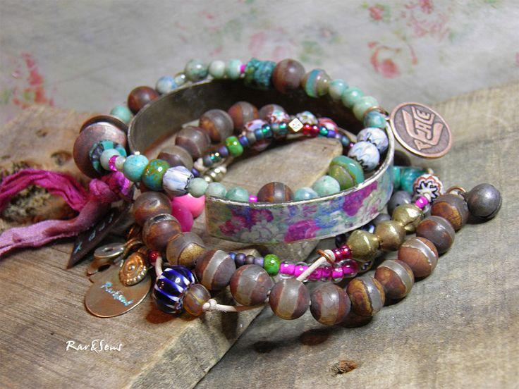 Trio de bracelets hippy,bohème,vintage*I'm free*3 bracelets pour 5 tours;manchette et perle turquoise,rose et chataigne : Bracelet par rare-et-sens