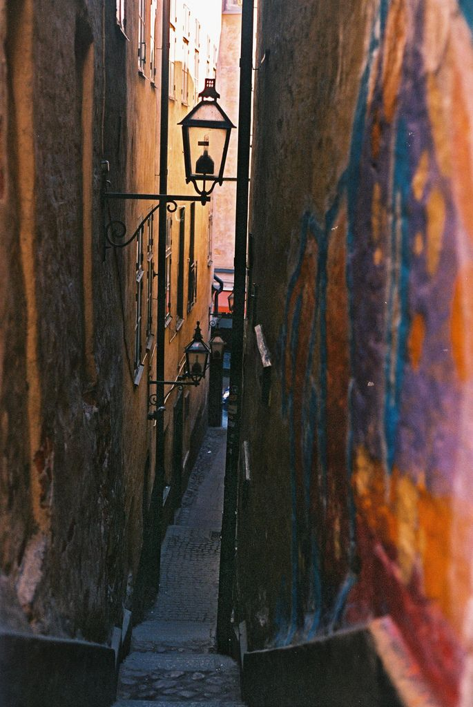 Alleyway with lamp, Stockholm, Sweden  Eeeek so excited to visit here next month !