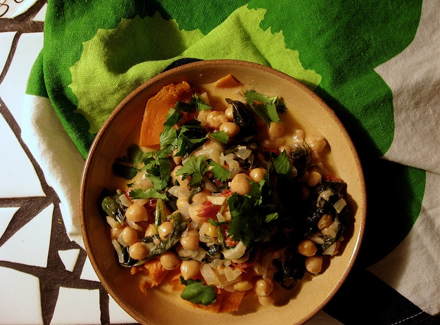 braised coconut chickpeas and spinach with chilis and lemon over baked ...