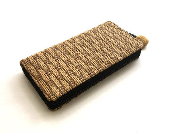 Vegan wallet Natural Material Tribal woven long by Tribalover