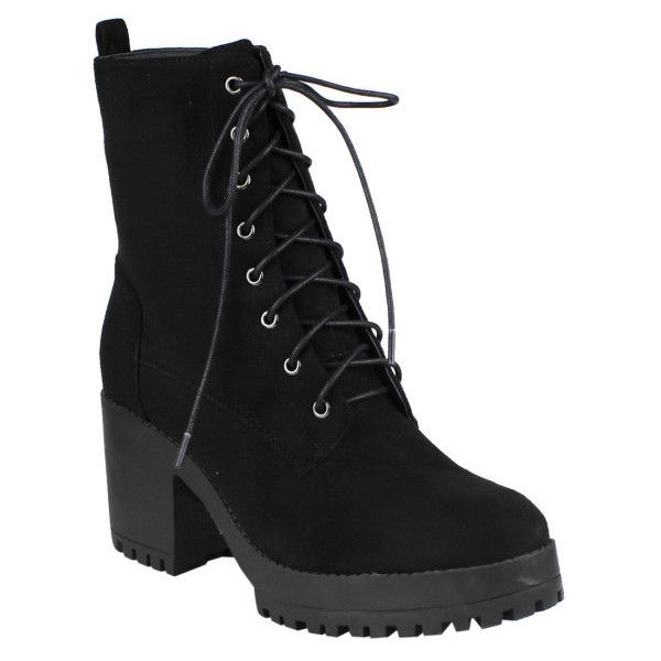 Women's Beston EJ04 Women Fashion Ankle High Chunky Block Heel Combat... ($33) ❤ liked on Polyvore featuring shoes, boots, ankle booties, black, boots & booties, chunky combat boots, chunky black boots, combat booties, chunky-heel boots and military boots