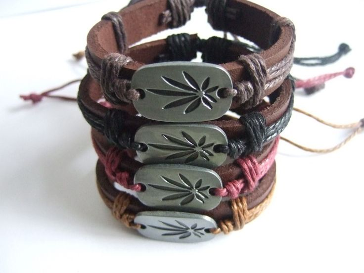 Wrapped hemp Weed Leaf Charm Leather Friendship Bracelet WRISTBAND Surfer