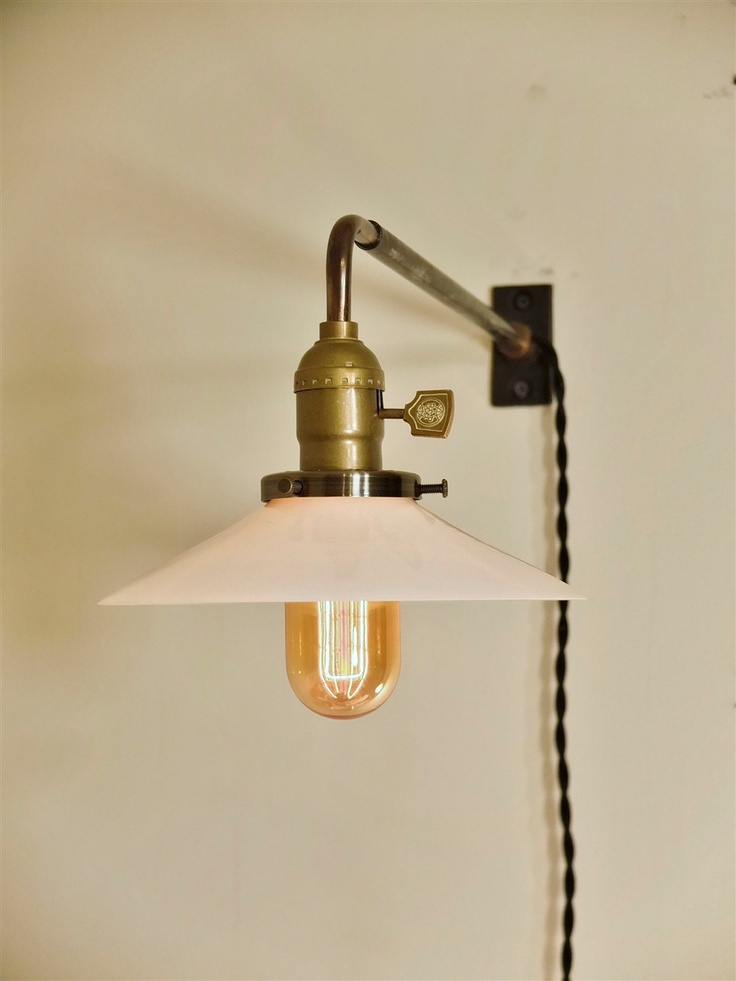 vintage industrial wall mount light opal shallow cone. Black Bedroom Furniture Sets. Home Design Ideas
