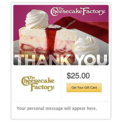 The Cheesecake Factory Thank You Raspberry Swirl Cheesecake Gift Cards  Email Delivery ** Click image to review more details.Note:It is affiliate link to Amazon.