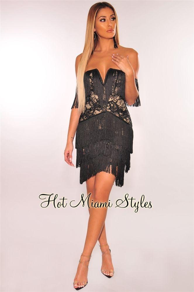 4ea60da84af Black Lace Fringe Off Shoulder Plunge Dress in 2019