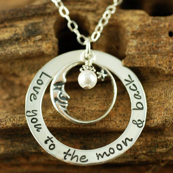love you to the moon and back necklace   Love you to the Moon and Back Necklace With Silver Moon Charm ...