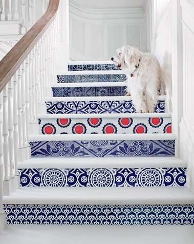 and different stairs. are they tiles? could be just painted stripes
