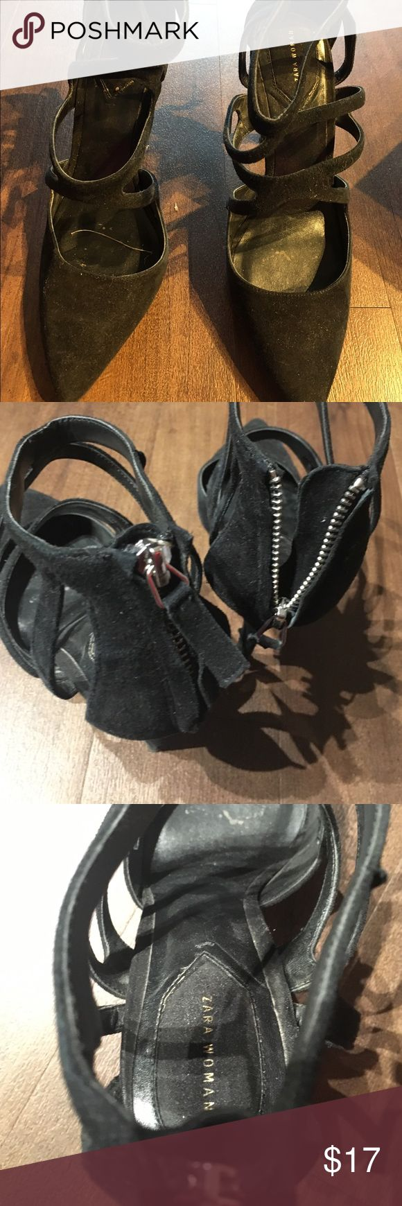 Zara woman black strapping heels Zara woman heels. Black and strappy with black zipper. Good condition. Zara Shoes Heels